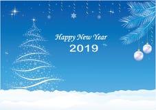 Tarjeta 2019 de felicitación con el árbol de navidad ilustración del vector