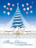 Tarjeta de felicitación con el árbol de navidad y decoración con los globos Ilustración del vector ilustración del vector