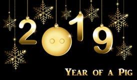 Tarjeta de felicitación con el Año Nuevo, el año del cerdo libre illustration