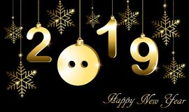 Tarjeta de felicitación con el Año Nuevo, el año del cerdo ilustración del vector