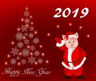 Tarjeta de felicitación con el Año Nuevo, el año del cerdo stock de ilustración