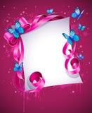 Tarjeta de felicitación con el arqueamiento rosado y la mariposa azul Imagen de archivo libre de regalías