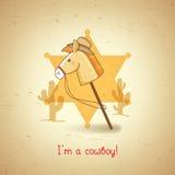 Tarjeta de felicitación con el caballo del juguete en estilo occidental Imágenes de archivo libres de regalías