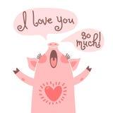 Tarjeta de felicitación con el cochinillo lindo Declaración dulce del cerdo te amo tanto stock de ilustración
