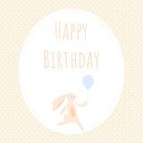Tarjeta de felicitación con el conejito lindo stock de ilustración