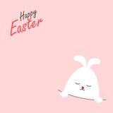 Tarjeta de felicitación con el conejo de Pascua imagen de archivo