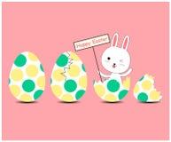 Tarjeta de felicitación con el conejo de Pascua foto de archivo
