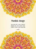 Tarjeta de felicitación con el diseño de la mandala, plantilla del vector Imagen de archivo