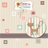Tarjeta de felicitación con el gato Fotografía de archivo