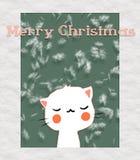 Tarjeta de felicitación con el gato lindo Sonrisa feliz Nieve de Unter Case la Navidad y la Feliz Año Nuevo libre illustration