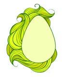 Tarjeta de felicitación con el huevo y los rizos melenudos ondulados verdes El objeto se separa del fondo Tarjeta de pascua del v libre illustration