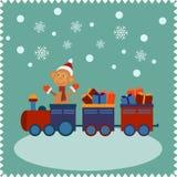 Tarjeta de felicitación con el mono feliz Papá Noel ilustración del vector