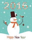 Tarjeta de felicitación 2016 con el muñeco de nieve Fotos de archivo