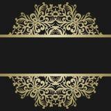 Tarjeta de felicitación con el ornamento del oro del vintage y lugar para el texto sig ilustración del vector