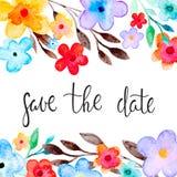 Tarjeta de felicitación con el ornamento floral Fotos de archivo