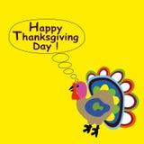 Tarjeta de felicitación con el pavo Concepto feliz del día de la acción de gracias Diseño plano stock de ilustración