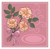Tarjeta de felicitación con el ramo de rosas Fotografía de archivo libre de regalías