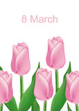 Tarjeta de felicitación con el ramo de tulipanes Fotos de archivo