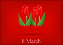 Tarjeta de felicitación con el ramo de tulipanes Imagenes de archivo