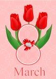 Tarjeta de felicitación con el ramo de tulipanes rojos Imagen de archivo libre de regalías