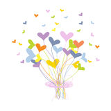 Tarjeta de felicitación con el ramo hecho de corazones Fotografía de archivo
