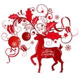Tarjeta de felicitación con el reno Imagen de archivo