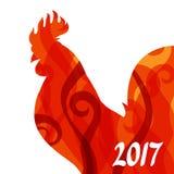 Tarjeta de felicitación con el símbolo del gallo de 2017 por el calendario chino Fotografía de archivo