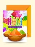 Tarjeta de felicitación con el sobre para la celebración de Holi Fotografía de archivo libre de regalías