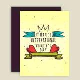 Tarjeta de felicitación con el sobre para la celebración del día de las mujeres Fotografía de archivo libre de regalías