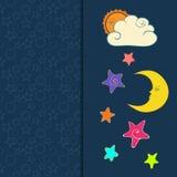 Tarjeta de felicitación con el sol, la luna y las estrellas dibujados mano stock de ilustración