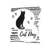 Tarjeta de felicitación con el texto 'mundo Cat Day ' Icono de la raza de Bombay stock de ilustración