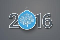 Tarjeta de felicitación con el texto adornado 2016 Foto de archivo