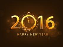 Tarjeta de felicitación con el texto de oro por Año Nuevo Fotos de archivo