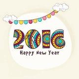 Tarjeta de felicitación con el texto elegante por Año Nuevo Imagen de archivo