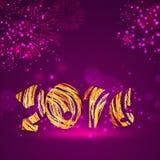 Tarjeta de felicitación con el texto elegante por Feliz Año Nuevo Fotografía de archivo libre de regalías