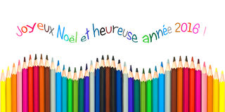 Tarjeta de felicitación con el texto francés que significa la tarjeta 2016, lápices coloridos de felicitación de la Feliz Año Nue Foto de archivo