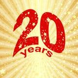 Tarjeta de felicitación con el vigésimo aniversario Imágenes de archivo libres de regalías