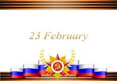 Tarjeta de felicitación con enhorabuena al 23 de febrero Fotos de archivo