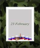 Tarjeta de felicitación con enhorabuena al 23 de febrero Imagen de archivo libre de regalías
