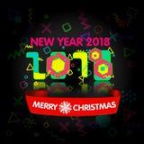 Tarjeta de felicitación con estilo Feliz Año Nuevo 2018 Fuente geométrica de moda en el estilo de Memphis de 80s-90s ilustración del vector
