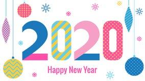Tarjeta de felicitación con estilo Feliz Año Nuevo 2020 Fuente geométrica de moda en el estilo de Memphis de 80s-90s Dígitos y bo stock de ilustración