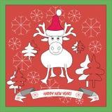 Tarjeta de felicitación con Feliz Año Nuevo de los deseos Foto de archivo