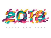 tarjeta 2018 de felicitación con formas abstractas del corte del papel Imagen de archivo