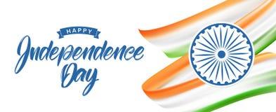 Tarjeta de felicitación con la bandera india y las letras dibujadas mano del Día de la Independencia feliz décimo quinto August S stock de ilustración