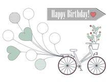 Tarjeta de felicitación con la bicicleta, los globos y las flores aislados en whi Fotos de archivo