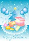 Tarjeta de felicitación con la caja de regalo, las bolas de la Navidad y el árbol de navidad en Año Nuevo y la Navidad Imágenes de archivo libres de regalías