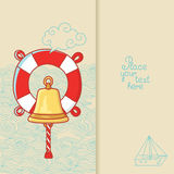 Tarjeta de felicitación con la campana de la nave y salvavidas en estilo del garabato Foto de archivo