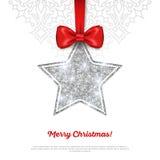 Tarjeta de felicitación con la chuchería de plata brillante de la estrella y Imagen de archivo