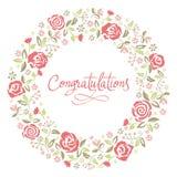 Tarjeta de felicitación con la inscripción y el estampado de flores Foto de archivo