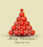 Tarjeta de felicitación con la Navidad y el Año Nuevo Foto de archivo libre de regalías